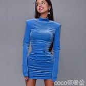 熱賣緊身洋裝 氣質高領長袖連身裙女2021歐美網紅同款修身褶皺時尚緊身包臀短裙 coco