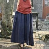 長裙 3686#夏女裝新款文藝松緊系帶寬鬆純色棉麻半身長裙子