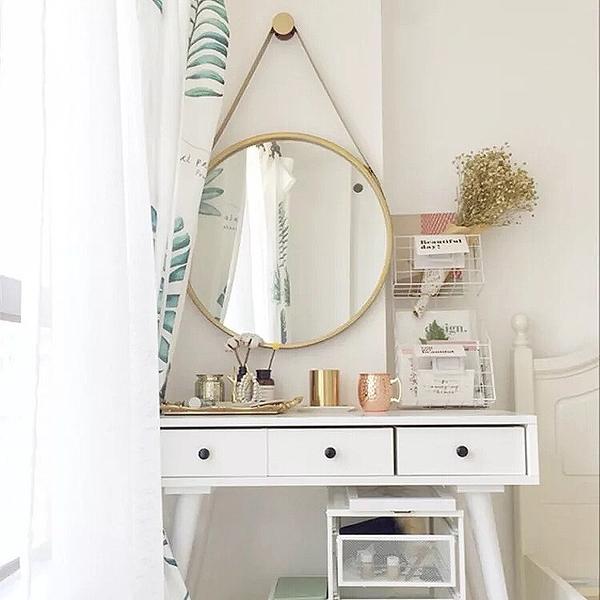 化妝鏡 北歐創意掛鏡輕奢壁掛鏡圓形鏡子化妝鏡浴室鏡圓鏡試衣鏡吊鏡 南風小鋪