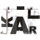 KARL LAGERFELD MARBLE 大理石紋字母硬殼鍊帶包(黑白色) 1720480-37
