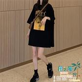 中長版上衣 黑色T恤女寬鬆韓版半袖下衣失蹤短袖體恤潮夏裝【風之海】