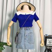 夏季2018新款假倆件翻領針織衫修身顯瘦短袖韓版拼色套頭上衣