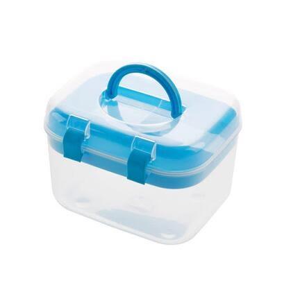 居家家 塑料透明藥品收納箱小號急救箱 家庭醫藥(小號藍色 兩個裝)-炫彩店