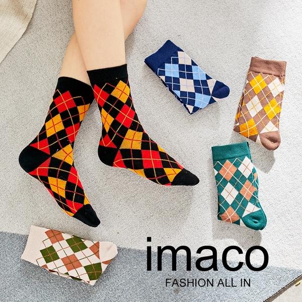 imaco旗艦店 文青風格紋中筒襪(5雙組)