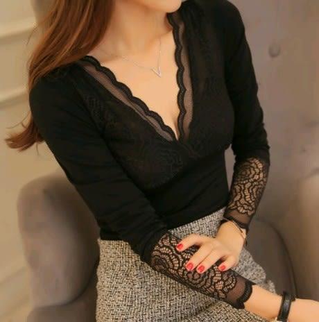 EASON SHOP(GU4662)加絨刷毛蕾絲拼接花邊V領長袖女上衣服素色彈力貼身韓版無縫保暖內衣黑色內搭衫