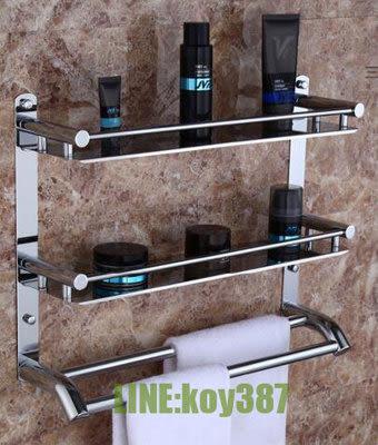 304不鏽鋼雙層三層毛巾架  洗手間衛生間置物壁挂浴室架【潮咖範兒】