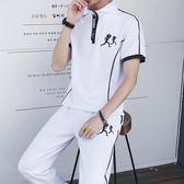 夏季男士短袖T恤韓版休閒運動套裝修身半袖帥氣衣服一套2019新款
