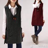 秋冬季V領純色寬鬆口袋毛衣女外套背心馬甲中長款大碼打底針織衫 (橙子精品)