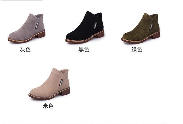 ★990+3 ❤ 愛麗絲的最愛☆.☆  秋冬新款~ 率性簡約皮帶側拉鏈設計平底短靴/低跟靴 (現貨+預購)