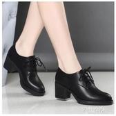 單鞋女新款高跟繫帶粗跟百搭加絨小皮鞋中跟秋鞋女牛津鞋紳士鞋