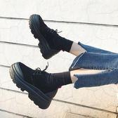 南在南方春季新款原宿小皮鞋韓版百搭學生女鞋厚底鬆糕單鞋女 〖korea時尚記〗