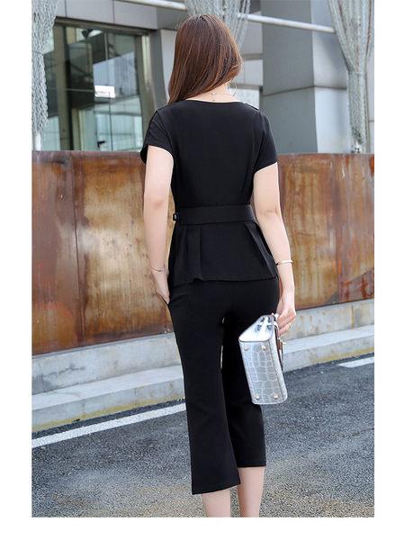 找到自己 G5 韓國時尚 夏季 套裝 修身 顯瘦 短袖 九分褲 兩件套