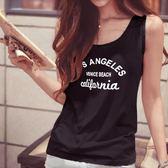 現貨清出 無袖T恤夏裝女裝韓版運動風bf寬鬆無袖T恤字母背心情侶外穿打底上衣顯瘦 12-04