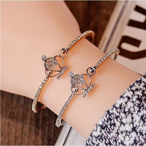 [24hr-快速出貨] 皇冠 鑲鑽 手環 手鍊 手鐲 開口 氣質 百搭 簡約 韓版 精緻 流行 時尚 飾品 韓