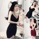 主播深V領低胸性感夜店女裝緊身包臀打底吊帶洋裝 韓語空間