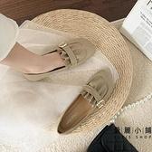 平底淺口鞋女休閒舒適褶皺懶人鞋百搭淺口奶奶鞋【愛麗小鋪】