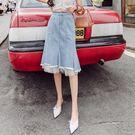 牛仔裙不規則半身裙流行裙子百搭高腰蕾絲拼接中長款牛仔半身a字裙