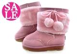 ISAO 正韓雪靴 絨毛球球保暖真皮雪靴 K8078#粉紅◆OSOME奧森鞋業 零碼出清
