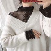 【GZ F2】韓版氣質百搭薄款鏤空內搭網紗上衣 蕾絲上衣 長袖上衣