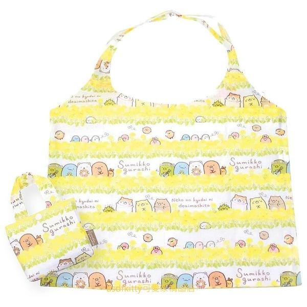 asdfkitty*日本san-x角落生物花圈可折疊輕量購物袋/手提袋/收納袋-日本正版商品