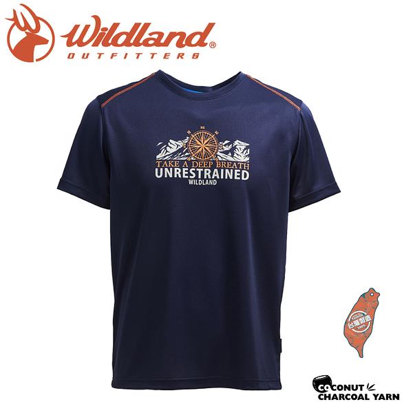 【Wildland 荒野 男 椰碳紗圓領印花抗菌上衣《深藍》】0A71658/圓領T/運動衣/t恤/抗UV