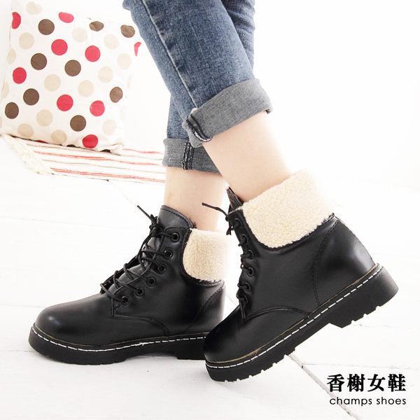 短靴  帥氣綁帶保暖圓頭低跟短靴  香榭