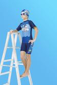 【M9220】梅林泳裝2020新品特價~男童藍天飛機圖短袖二件式泳衣 贈泳帽