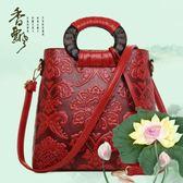 冬季新款復古中國風壓花紋商務手提包