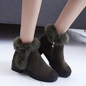 低筒雪靴-時尚氣質側拉鏈粗跟女高跟靴子2色73kg61【巴黎精品】