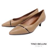 Tino Bellini金屬線條點睛尖楦中低跟鞋_駝 TF8564