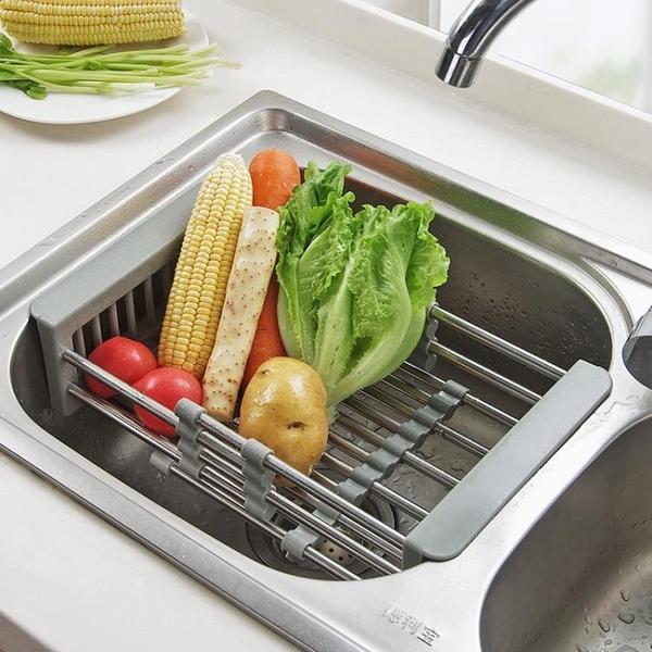 尺寸超過45公分請下宅配不銹鋼水槽瀝水架廚房伸縮洗碗池置物架家用大全洗菜瀝水籃