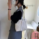 包包草編蕾絲側背包手提包大容量水桶購物袋【匯美優品】