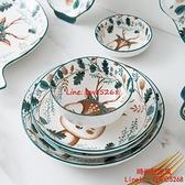 小鹿中日歐式碗碟套裝家用陶瓷飯碗筷餐具吃飯碗【時尚好家風】