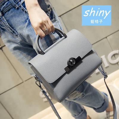 【P099】shiny藍格子-時尚簡約.春夏新款荔枝紋斜挎手提單肩小方包