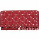 VALENTINO Rockstud Spike 紅色絎縫小羊皮菱格鉚釘釦式長夾 1830284-54