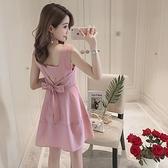 連身裙 洋裝女2021夏裝新款露背收腰顯瘦蝴蝶結氣質小個子吊帶裙子夏季 【韓語空間】