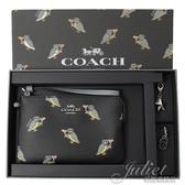 茱麗葉精品【全新現貨】 COACH 80302 馬車LOGO貓頭鷹雙吊飾零錢手拿包禮盒組.黑