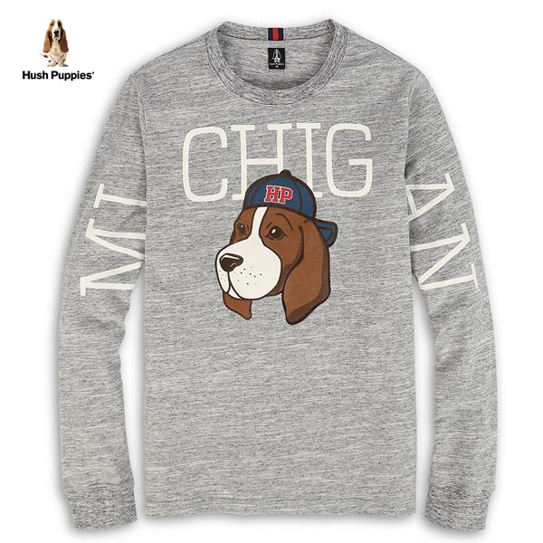 Hush Puppies T恤 男裝密西根字母印花狗長袖T恤