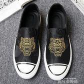 男鞋夏季新品英倫潮流虎頭布鞋男士百搭硫化帆布樂福鞋一腳蹬布鞋 依凡卡時尚