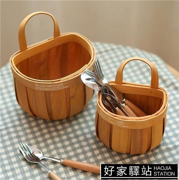 日式手工編織木片帶提手籃子藤編收納籃野餐麵包籃水果籃儲物掛籃