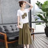 棉麻連衣裙 女裝2018夏裝新款時髦顯瘦氣質套裝裙兩件套中長款潮 WE1156『優童屋』
