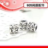 銀鏡DIY S925純銀材料配件/硫化染黑簍空立體玫瑰花朵造型銀管E~適合手作蠶絲蠟線/幸運衝浪繩