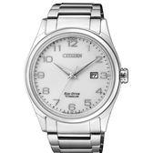 CITIZEN 星辰 光動能鈦金屬藍寶石鏡面腕錶 BM7360-82A  白X銀