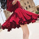 長袖洋裝 雪紡紅色正韓顯瘦長袖系帶收腰裙小個子短裙