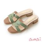 amaiMIT台灣製造。全真皮交叉方頭涼拖鞋 綠