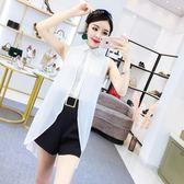 2018夏季新款韓版氣質不規則假兩件無袖雪紡上衣高腰闊腿短褲套裝