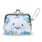 【日本進口正版】大耳狗 Cinnamoroll 格紋款 珠扣包 零錢包 三麗鷗 Sanrio - 052021