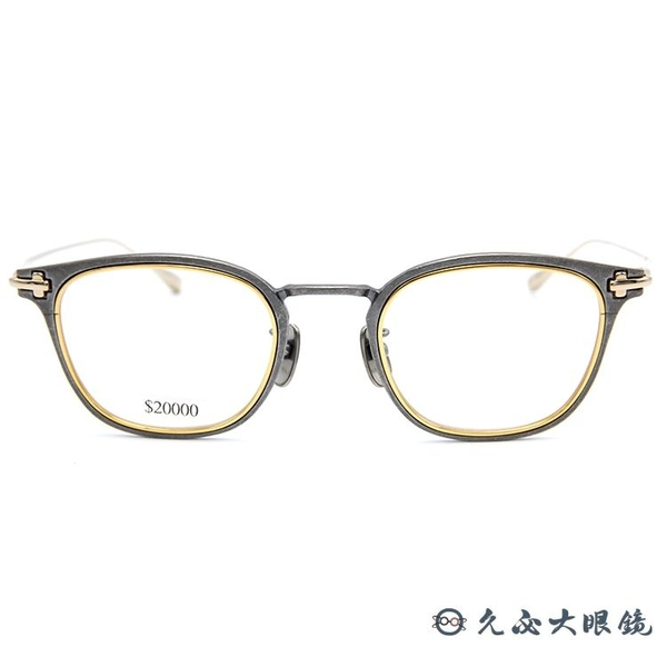 TAYLOR 眼鏡 日本手工 鈦 近視眼鏡 SKOLL 006 C01 仿舊銀-金 久必大眼鏡