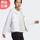 【現貨】Adidas STY W SUEDE 女裝 外套 連帽 側開叉 口袋 絨面 白【運動世界】H09665