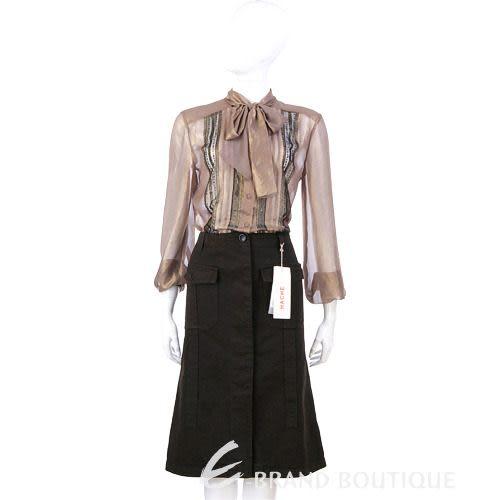 HACHE 深咖啡色排釦口袋及膝裙 0550094-07